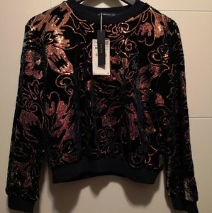 Zara sequin velvet sweater